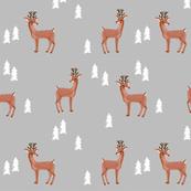 rudolph reindeer christmas deer santa's sleigh fabric for winter decor grey