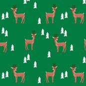 rudolph reindeer christmas deer santa's sleigh fabric for winter decor green