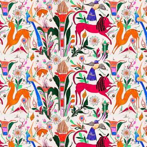 Otomi Animal folk art scene deer birds rabbit botanical