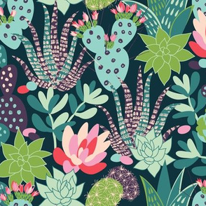 succulents and cactuses with inky texture