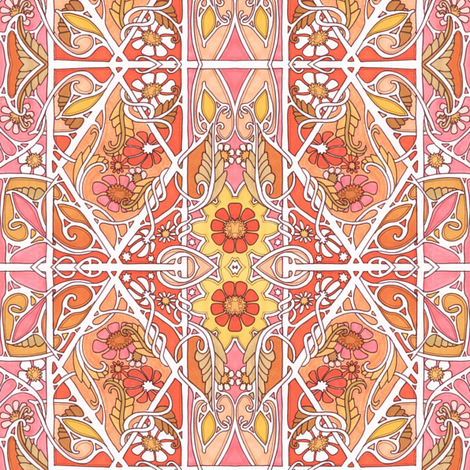 Twisted Orange Nouveau Garden fabric by edsel2084 on Spoonflower - custom fabric