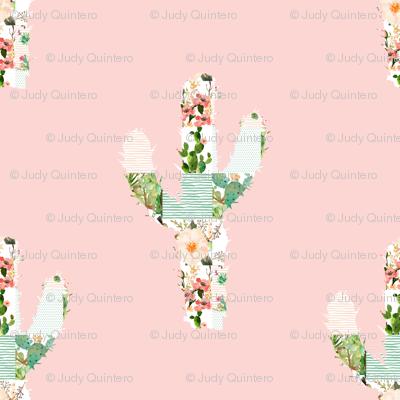 "4"" Patchwork Cactus / Pink"