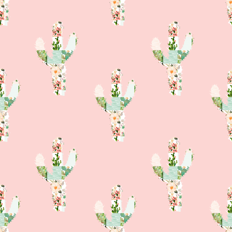 "4"" Patchwork Cactus / Pink fabric by shopcabin on Spoonflower - custom fabric"