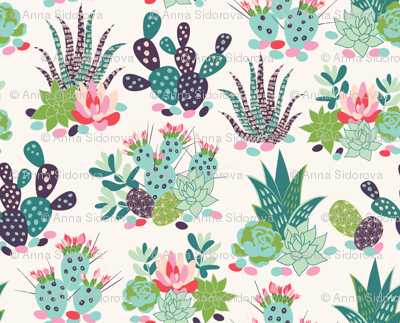 succulents and cactuses with inky texture_1