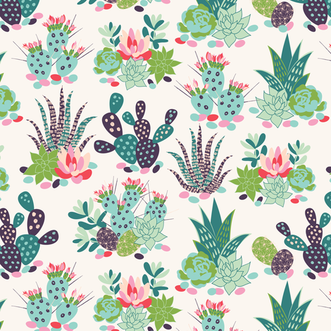 succulents and cactuses with inky texture_1 fabric by solnca_lych on Spoonflower - custom fabric