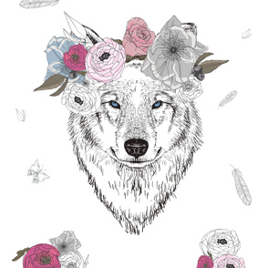 "54""x72"" Girl Wolf With Flowers"