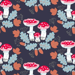 acorns, amanitas and leaves in autumn colors