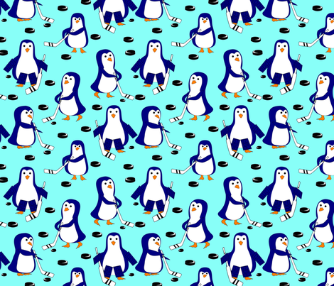 penguin hockey light blue fabric by pamelachi on Spoonflower - custom fabric