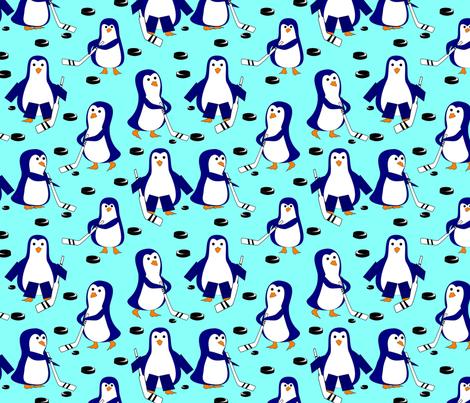 penguin hockey light blue fabric by pamelachi on Spoonflower - custom fabric