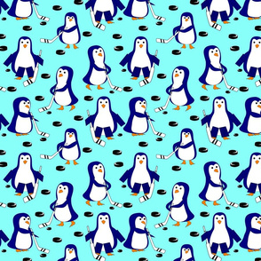 penguin hockey light blue