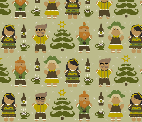 A gingerbread hipster Christmas fabric by mahonestudios on Spoonflower - custom fabric