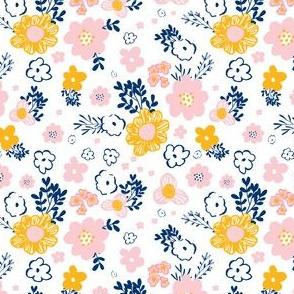 "4""  Pink Navy & Mustard Mod Yellow Floral Print"