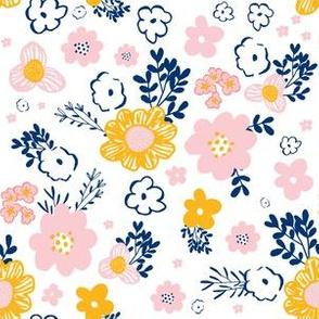 "6"" Pink Navy & Mustard Mod Yellow Floral Print"