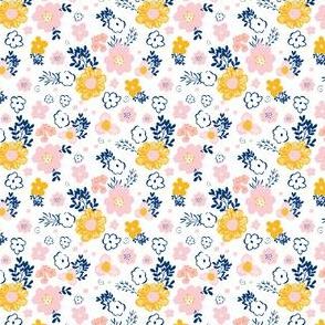 "2.5"" Pink Navy & Mustard Yellow Flowers"