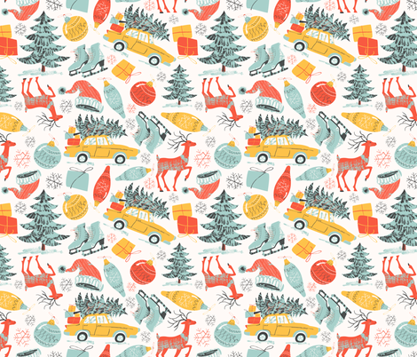Vintage style Christmas and New Year fabric by solnca_lych on Spoonflower - custom fabric