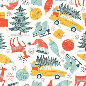 pattern with inky textures in vintage style for Christmas and New Year