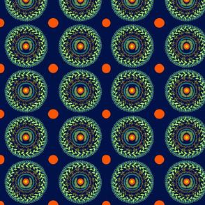 green leafy circle mandalas with orange dots