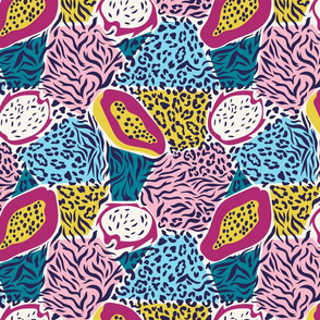 pattern with pitaya and papaya