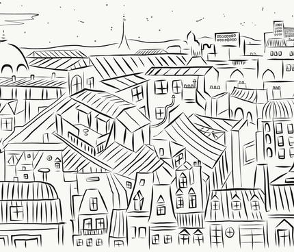 Paris magic - Rooftops by night fabric by motifunique on Spoonflower - custom fabric