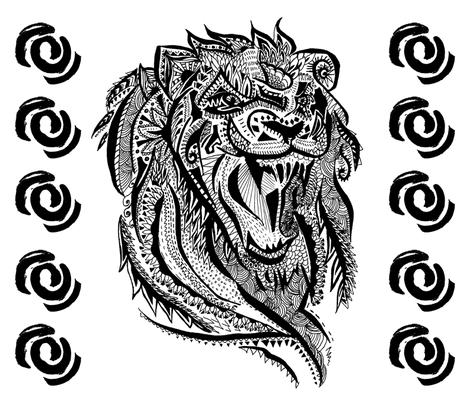 Lion Colouring  fabric by gemmaalison on Spoonflower - custom fabric