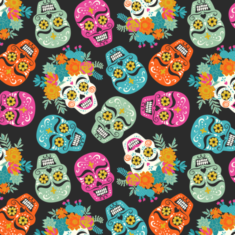 "illustration of Mexican holiday ""Day of the Dead"" fabric by solnca_lych on Spoonflower - custom fabric"