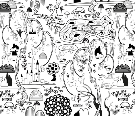 Magical Garden Coloring Book fabric by vannina on Spoonflower - custom fabric
