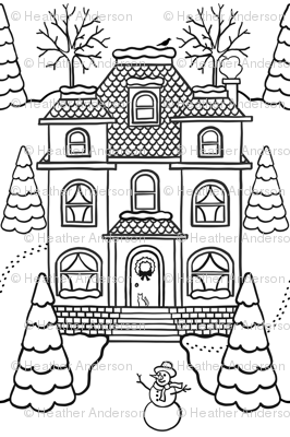 Victorian Winter Houses Color-in