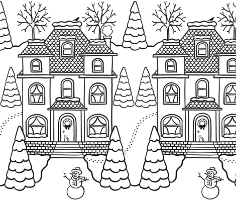 Victorian Winter Houses Color-in fabric by heather_anderson on Spoonflower - custom fabric