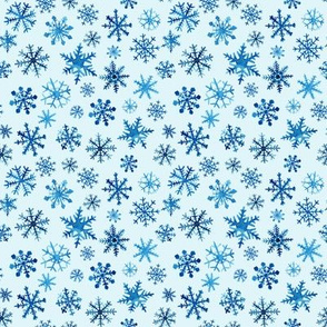 Blue watercolor snowflakes