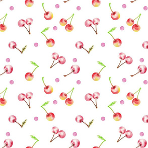 Watercolor Sweet Cherry White