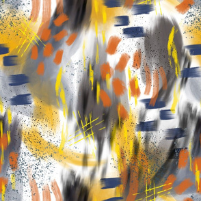 Abstract Digital Painting in Yellows, Oranges, and Navy