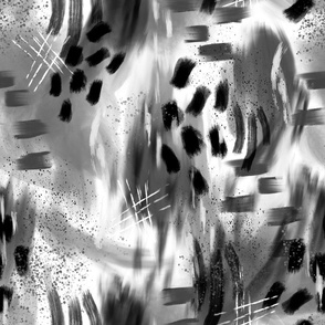 Abstract Digital Painting in Black and White