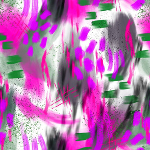 Abstract Digital Painting in Magenta and Green