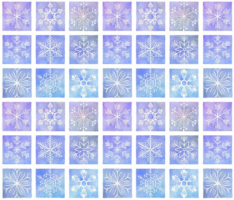 Watercolor Snowflakes fabric by zhfield on Spoonflower - custom fabric