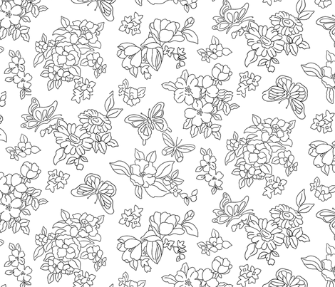 Butterfly Floral fabric by ileneavery on Spoonflower - custom fabric