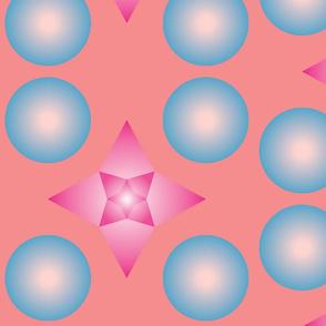 Blue Spheres with Pink starflower