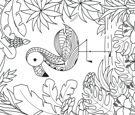 Tropical Coloring Page fabric by hudsondesigncompany on Spoonflower - custom fabric