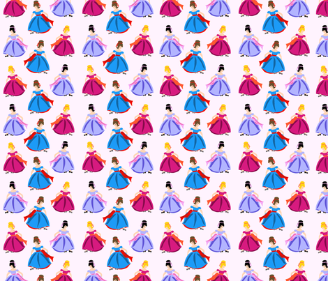 Dancing Princesses Pink fabric by lillianburns on Spoonflower - custom fabric