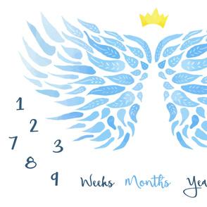 milestone-angel wings blue growth blanket