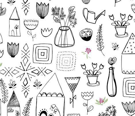 floral home black and white print fabric by alextilalila on Spoonflower - custom fabric