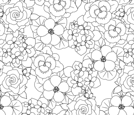 edible flowers Lark coloring book contest fabric by victorialasher on Spoonflower - custom fabric