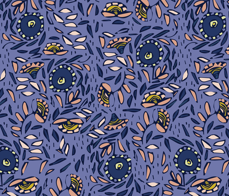 floral mosaik in purple  fabric by alextilalila on Spoonflower - custom fabric