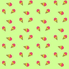 I Want Ice Cream Cones on Green