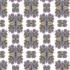Fantasy Floral in Smokey Lavender on White