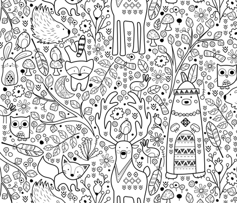 Color Me Woodland Animals fabric by sarah_treu on Spoonflower - custom fabric