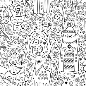 Color Me Woodland Animals