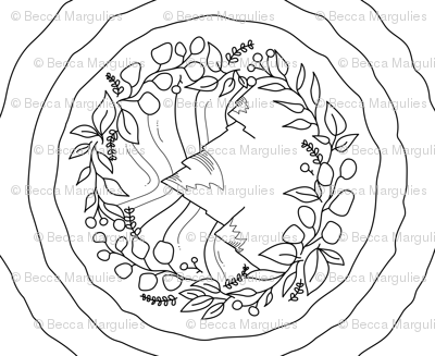Mountain Floral Coloring Page