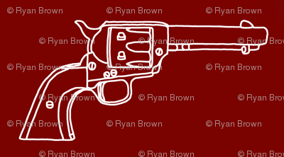 Revolver Sketch on Maroon // Small