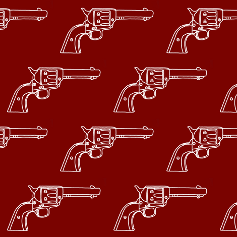 Revolver Sketch on Maroon // Small fabric by thinlinetextiles on Spoonflower - custom fabric