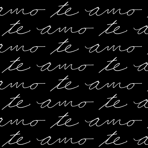 Te Amo // Black fabric by thinlinetextiles on Spoonflower - custom fabric